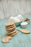 Confetti Cookies With Eggs and Sugars Royalty Free Stock Photo