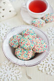 Confetti cookies and tea Stock Images