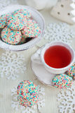 Confetti cookies and tea Stock Photography