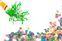 Confetti and cornet background Royalty Free Stock Photography