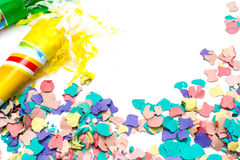 Confetti and cornet background Stock Photography