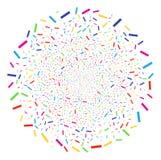 Confetti Decoration Round Cluster. Bright Confetti burst cluster. Vector round cluster burst combined from randomized confetti symbols. Multi Colored Vector Stock Image