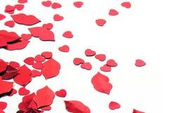 Confetti dos corações e dos bordos Fotos de Stock Royalty Free