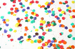 Confetti em um fundo branco Fotografia de Stock