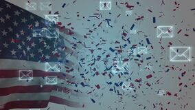 Confetti and envelopes over American flag.