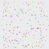Confetti. Falling bright  on transparent checkered background for Birthday, Holiday, Carnival, Halloween, Festival, Christmas Masquerade invitation background Stock Photos