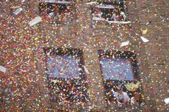 Confetti Falling From Building Stock Photo