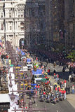 Confetti falling on buses Royalty Free Stock Images