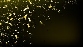 Confetti falling motion background. Shiny gold flying tinsel for party royalty free illustration