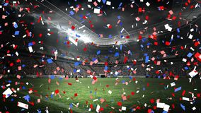 Confetti falling in an stadium. Digital animation of confetti falling with a background of a stadium stock footage