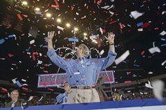 Confetti falls on an exuberant Senator John Kerry at a rally at the Thomas Mack Center at UNLV, Las Vegas, NV Royalty Free Stock Image