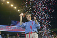 Confetti falls on an exuberant Senator John Kerry at a rally at the Thomas Mack Center at UNLV, Las Vegas, NV Royalty Free Stock Photo