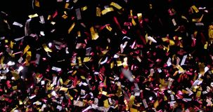 Confetti Isolated on Black Background. Confetti fired in the air during a party. Only confetti on black background of the night. Falling metallic glitter foil royalty free illustration