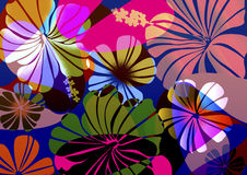 Confetti Floral Surprise. Fun neon tropical floral with geometric layers Stock Photo