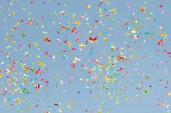 The confetti flying stock image
