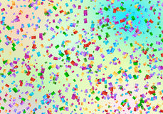 Confetti flying backdrop. Anniversary celebration background with multicolored confetti Royalty Free Stock Photo