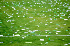 Confetti on football pitch Stock Photography