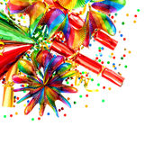 Confetti, garlands, streamer. carnival decorations Stock Photography