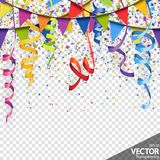 Confetti, garlands and streamers party background. Illustration of colored confetti, garlands and streamers background for party or carnival usage with royalty free illustration