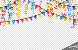 Confetti, garlands and streamers party background. Illustration of colored confetti, garlands and streamers background for party or carnival usage with vector illustration