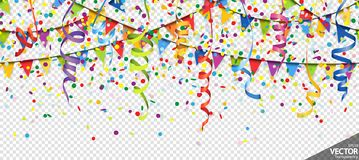 Confetti, garlands and streamers party background. Illustration of seamless colored confetti, garlands and streamers background for party or carnival usage with stock illustration