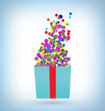 Confetti with gift box on blue. Multicolored confetti with open gift box on blue background Stock Photos