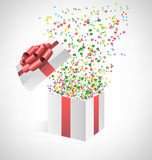 Confetti with gift box on grayscale Stock Images