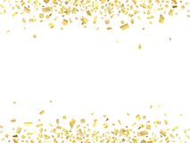 Confetti gold abs. Abstract pattern of gold confetti with empty center for text on white background. Vector illustration royalty free illustration