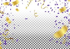 Confetti gold and blue ribbons, Celebration background template. Eps.10 Vector Illustration