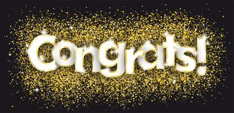 Congrats Golden Confetti Black Background Stock Image