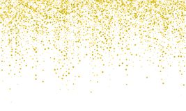 Confetti golden vector background. Falling carnival or holiday gold confetti glitter on white background stock illustration