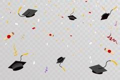 Free Confetti Graduation Hats Fly In Sky Poster Graduation Caps Scrolls Transparent Background Flat Design Vector Stock Photos - 140946723