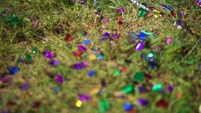 Confetti on green grass at the open-air ceremony. Heart-shaped confetti on green grass at the open-air ceremony stock video footage
