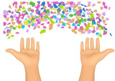Confetti and hands vector illustration