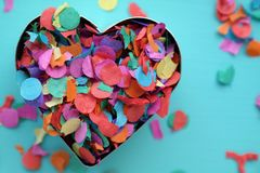 Valentines day, heart with confetti. Colorful background for carnival or valentine Royalty Free Stock Photos
