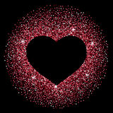 Confetti heart frame made of red confetti. Frame in the shape of a heart made of sparkling confetti on black background. Valentines day card template Stock Images