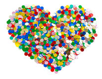 Confetti in heart shape. colorful background Stock Photography
