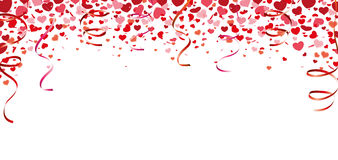Confetti Hearts Long Card Garlands Royalty Free Stock Image