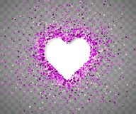 Confetti of hearts on a transparent background. V