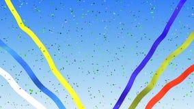 Confetti i faborki na niebieskiego nieba tle zapętlają zbiory