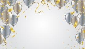 Confetti i setu faborki ilustracyjna wiązka Urodzinowy transpa ilustracji