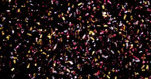 Confetti Isolated on Black Background. Confetti fired in the air during a party. Only confetti on black background of the night. Falling metallic glitter foil stock illustration