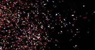 Confetti Isolated on Black Background. Confetti fired in the air during a party. Only confetti on black background of the night. Falling metallic glitter foil vector illustration