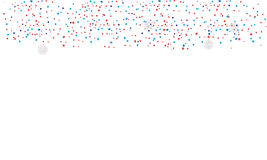 Confetti isolated. Confetti red and blue colors isolated on white background with place for text. Patriotic Greeting card template. Border pattern For celebrate stock illustration