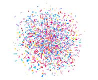 Art creative. Illustration. Confetti on isolated white. Texture with falling geometric elements. Abstract background. Pattern for design. Print for polygraphy royalty free illustration