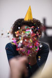 Confetti man on party Stock Images