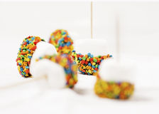 Confetti marshmallows Stock Photos