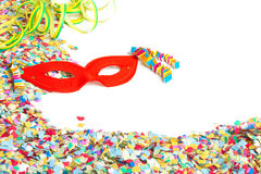 Confetti, mask, streamers Royalty Free Stock Images