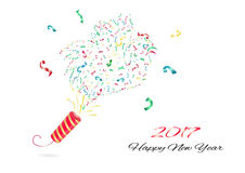 Confetti New Year. Exploding party popper vector. Happy New Year composition illustration vector. Confetti party vector. Party popper explosion Royalty Free Stock Images