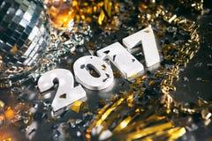 2017 confetti nowego roku ` s wigilii Grunge tło Fotografia Royalty Free
